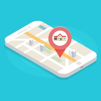 Búsqueda de casa con aplicación de teléfono, ilustración vectorial isométrica, concepto inmobiliario.