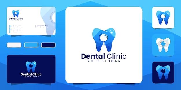 Búsqueda de clínica dental, plantilla de diseño de logotipo de color degradado y tarjeta de visita