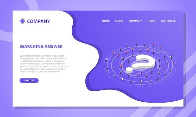 Búsqueda de concepto de respuesta para plantilla de sitio web o diseño de página de inicio de aterrizaje con estilo isométrico