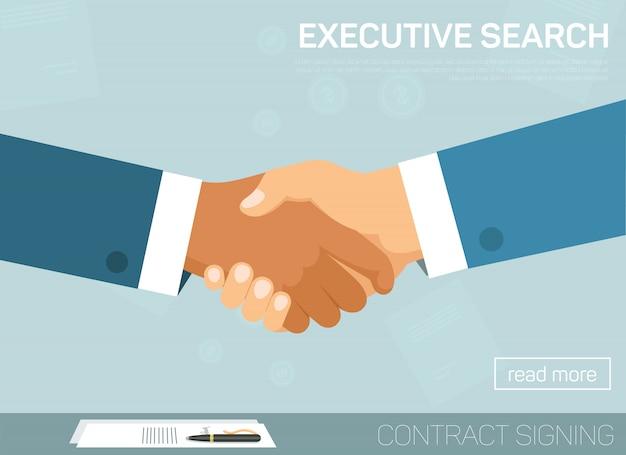 Búsqueda ejecutiva, apretón de manos para un acuerdo exitoso.