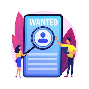 Búsqueda de empleo moderna. contratación de personal, contratación online, profesión autónoma. solicitante estudiando ayuda quería cartel. freelancer en busca de pedidos.