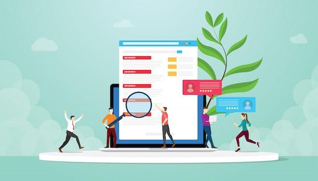 Búsqueda de empleo o cazador con personas que buscan la lista de trabajos en una computadora portátil con conexión a internet en línea con un estilo plano moderno - vector