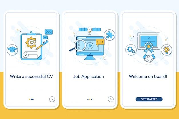 Búsqueda de empleo en la pantalla de la página de la aplicación móvil de embarque.