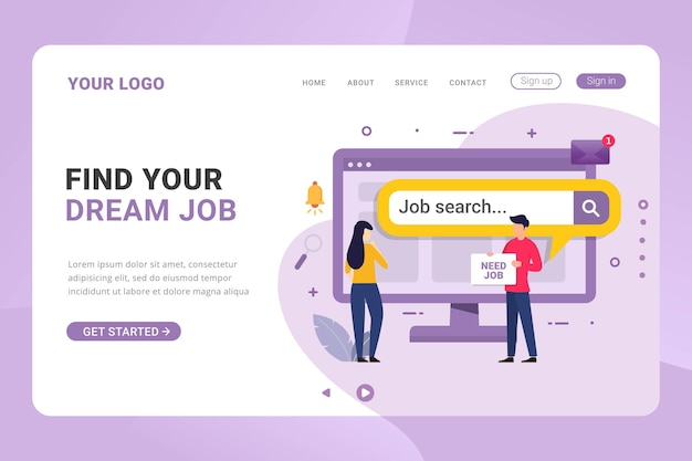 Búsqueda de empleo de plantilla de página de destino desde internet para concepto de diseño desempleado