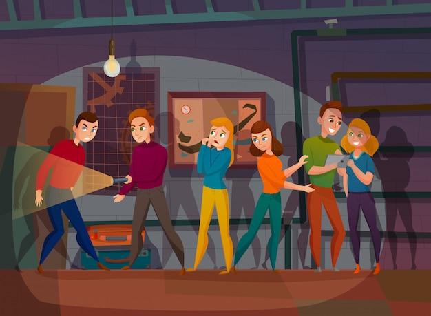 Búsqueda en la ilustración de dibujos animados de realidad