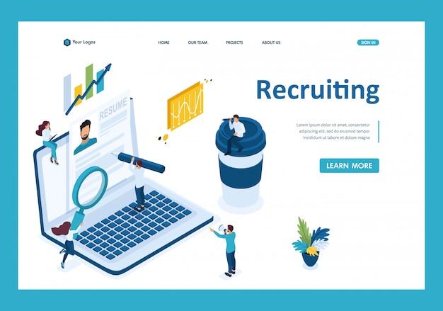 Búsqueda isométrica de empleados en internet, concepto de reclutamiento página de destino