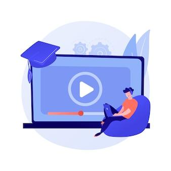 Búsqueda de lecciones en internet. universidad remota, programas educativos, sitio web de clases en línea. estudiante de secundaria con personaje de dibujos animados de lupa