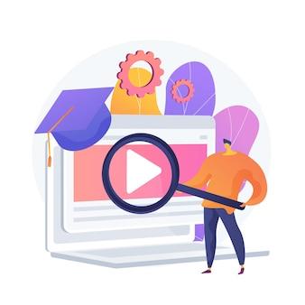 Búsqueda de lecciones en internet. universidad remota, programas educativos, sitio web de clases en línea. estudiante de secundaria con personaje de dibujos animados de lupa.
