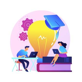 Búsqueda en línea de datos interesantes sobre química. autoeducación, preparación de exámenes, navegación por internet. personajes de hombre y mujer navegando por el sitio web científico.