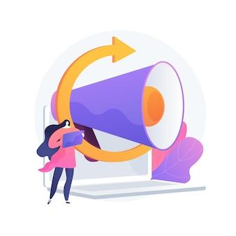 Búsqueda de público objetivo, promoción en internet, orientación al cliente. dirección publicitaria, campaña publicitaria, captación de clientela. personaje de dibujos animados de administrador de cliente. ilustración de metáfora de concepto aislado de vector.