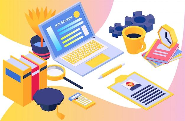 Búsqueda de recursos humanos, búsqueda de trabajo de concepto, ilustración vectorial isométrica. diseño de negocios, trabajo con computadora portátil, empleo en horas y lugar de trabajo.