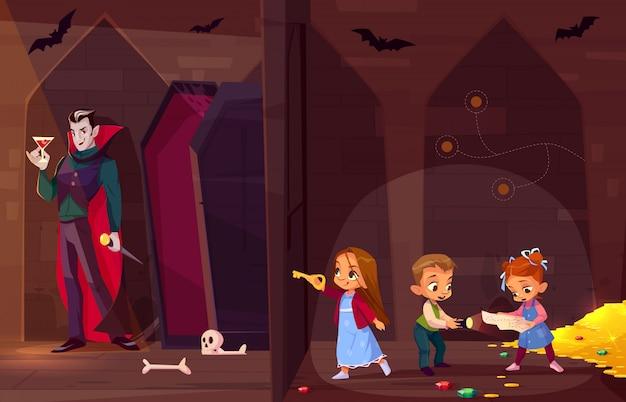 Búsqueda de sala de escape para niños entretenimiento concepto de dibujos animados.