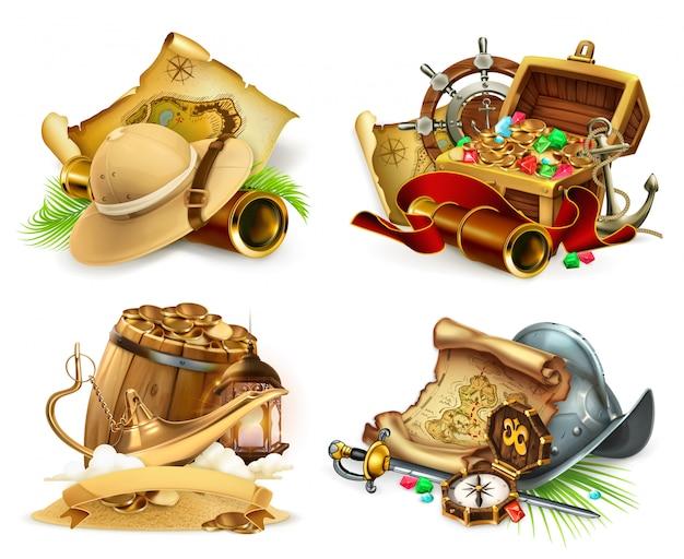 Búsqueda del tesoro y aventura. juego logo 3d set