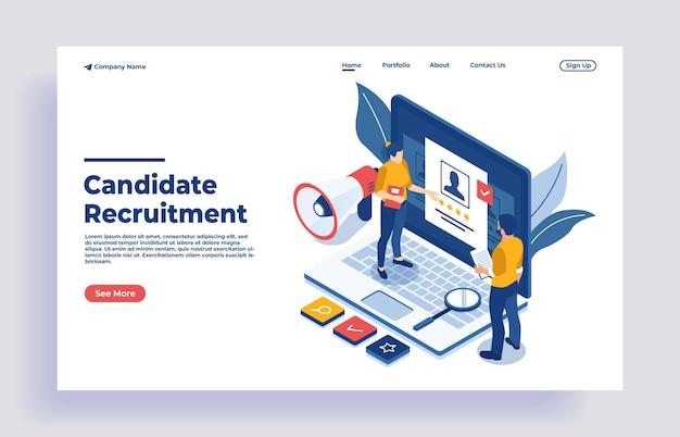 Búsqueda de trabajo en línea isométrica y concepto de recursos humanos y reclutamiento que estamos contratando