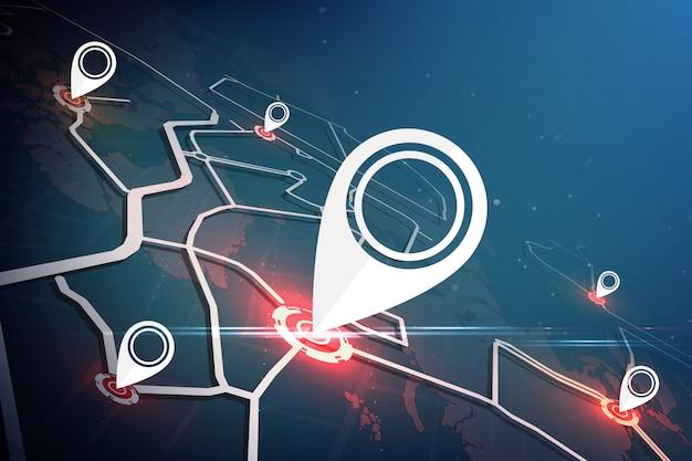 Búsqueda de ubicación en todo el mundo. concepto de mapa de ubicación