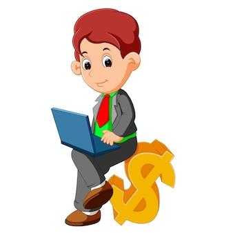 Bussinesman sentado dibujos animados de signo de dólar
