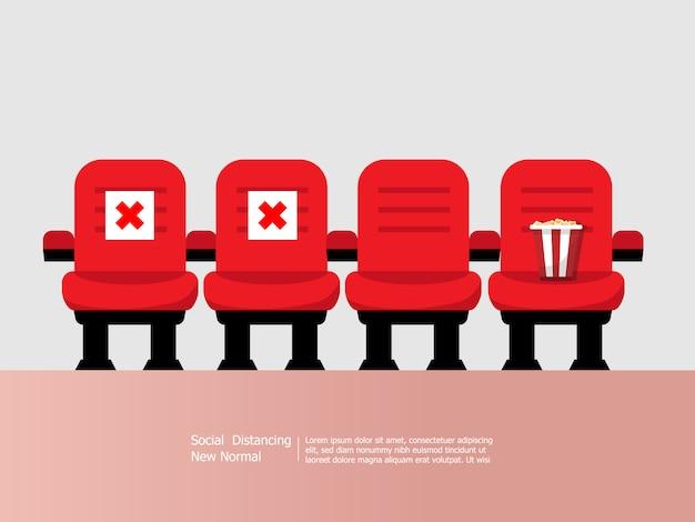 Butacas de teatro y cine con concepto de distanciamiento social