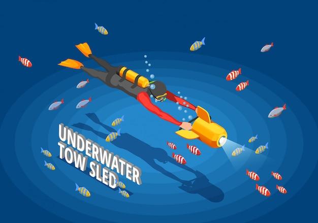 Buzo bajo el agua isomentric