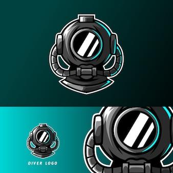 Buzo casco de buceo mascota deporte esport plantilla de logotipo