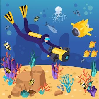 Buzo de composición isométrica del equipo de máquinas de vehículos submarinos explora el fondo del mar con la ilustración de equipo submarino