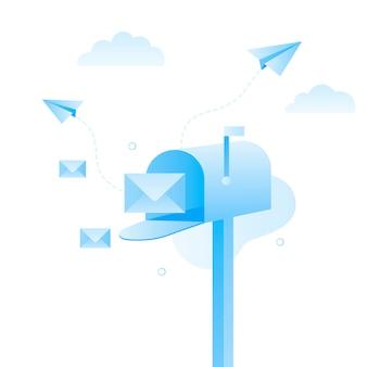 Buzón abierto con correo regular dentro.
