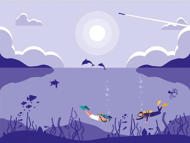Buzos en escena del paisaje marino tropical