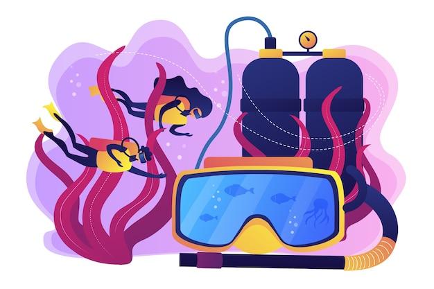 Buzos nadando bajo el agua y máscara con snorkel, gente diminuta. escuela de buceo, mejor buceo comercial, concepto de programa de buceo para todos los niveles.