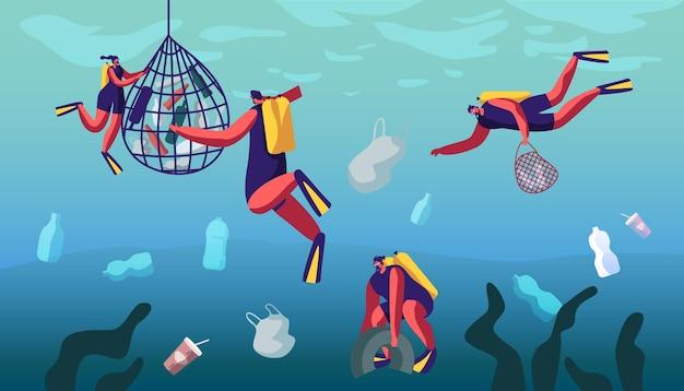 Buzos nadando en el océano y recolectando basura marina flotante en agua contaminada. ilustración plana de dibujos animados