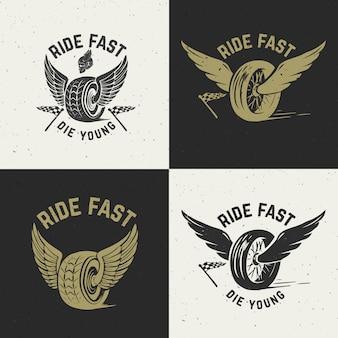 Cabalga rápido muere joven. rueda dibujada a mano con alas. elemento para póster, camiseta, emblema. ilustración