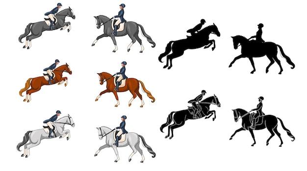 Cabalgatas. doma y salto. colocar. una mujer a caballo realiza un elemento de doma y salta un obstáculo. ilustración de vector de libros, diseño de logotipos, postales.