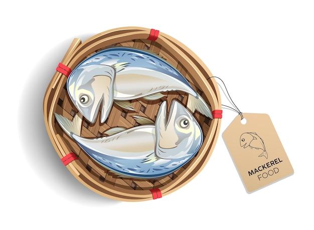 Caballa en el embalaje de la cesta de bambú, con etiqueta marrón producto de pescado, aislado sobre fondo blanco, comida popular en tailandia