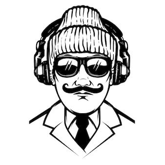 Caballero con auriculares y gafas de sol. elemento para cartel, camiseta, tarjeta. ilustración