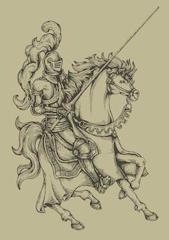 Caballero caballo grabado escudo de armería heráldica