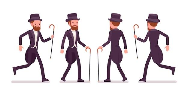 Caballero en chaqueta de esmoquin con colas caminando, corriendo