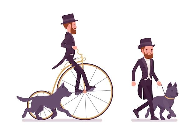 Caballero en chaqueta de esmoquin negro en paseo de recreación con perro