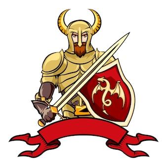 Caballero de dibujos animados de vector con un escudo de casco con cuernos con una espada de dragón y un banner de cinta vintage en blanco debajo de la ilustración de vector en blanco