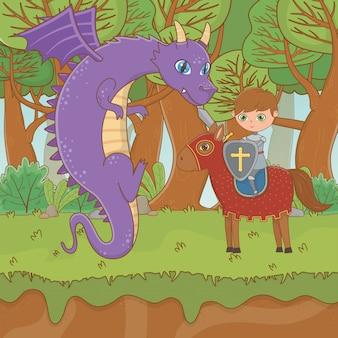 Caballero y dragón de cuento de hadas