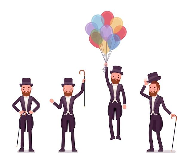 Caballero en esmoquin emociones positivas con globos