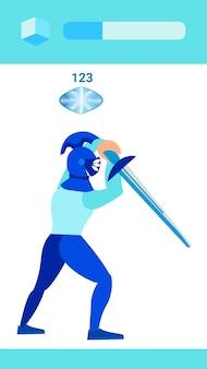 Caballero guerrero con espada ilustración vectorial plana