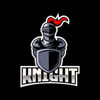 Caballero guerrero medieval e-sport mascota logo emblema