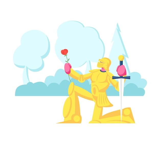 Caballero de oro brillante armadura de pie sobre la rodilla con espada y flor rosa dando juramento o confesión de amor. ilustración plana de dibujos animados