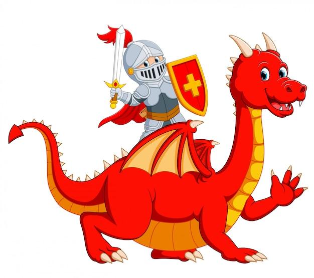El caballero sosteniendo la espada en el gran dragón rojo