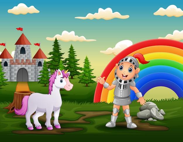 Un caballero con unicornio en el patio del castillo.