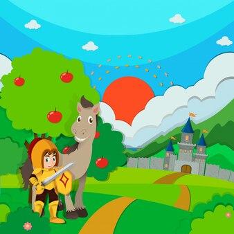 Caballero y caballo en la tierra
