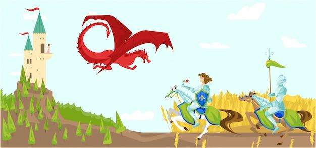 Los caballeros con espadas luchan feroz dragón ilustración de dibujos animados de criaturas salvajes de fantasía de cuento de hadas con alas en el cielo, castillo.