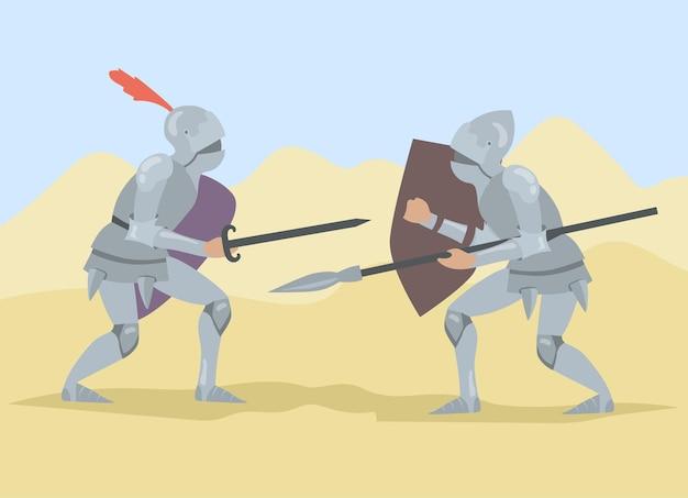 Caballeros luchando con espada y lanza, sosteniendo escudos.