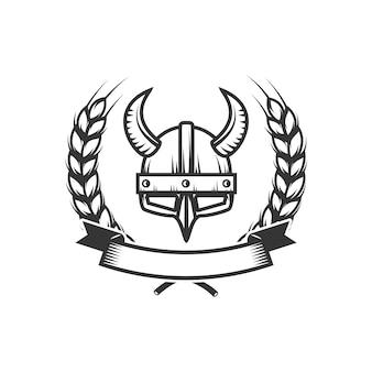 Caballeros plantilla de emblema con casco de caballero medieval. elemento para logotipo, etiqueta, emblema, signo. ilustración