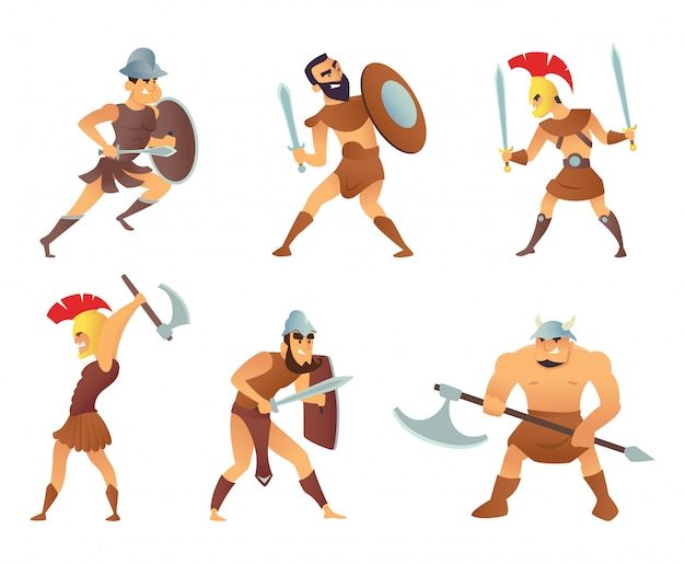 Caballeros de roma o gladiadores en diferentes poses de acción.