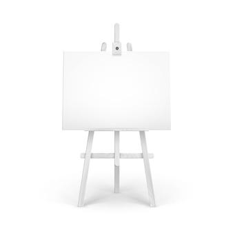 Caballete de madera blanca con maqueta de lienzo horizontal en blanco vacío aislado sobre fondo