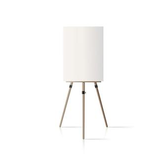Caballete de madera. caballete con un lienzo vacío aislado sobre un fondo blanco.
